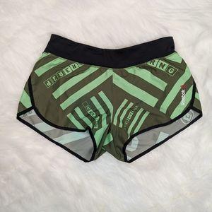 Reebok- green CrossFit athletic shorts